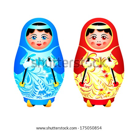 Colorful matryoshka dolls ready for winter skiing