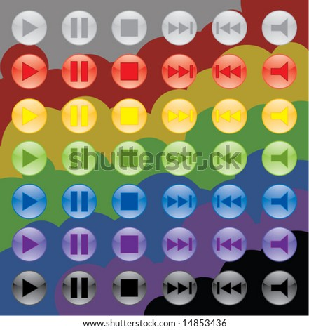 colorful media buttons - stock vector