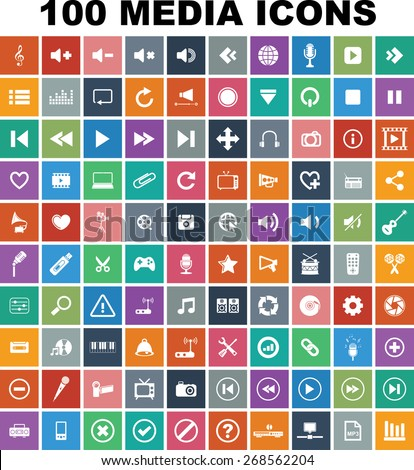 Colorful Media Icon set  - stock vector