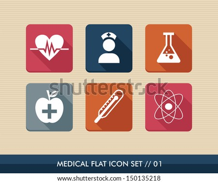 Colorful medical health care flat icon set,wellness assistance web apps. Vector file layered for easy editing. - stock vector