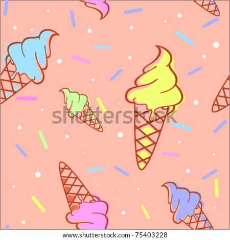 Colorful melting ice-cream seamless pattern - stock vector