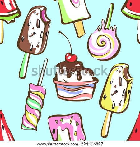 Colorful melting ice cream seamless pattern background
