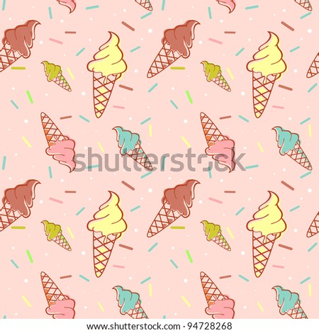 Colorful melting ice-cream seamless pattern confetti - stock vector