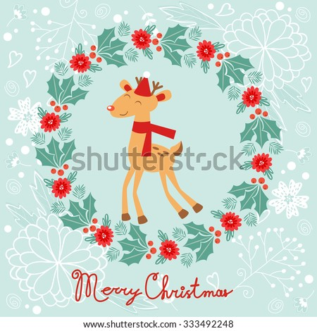 Colorful Merry Christmas composition with holiday elements laurel and raindeer. Vector illustration - stock vector