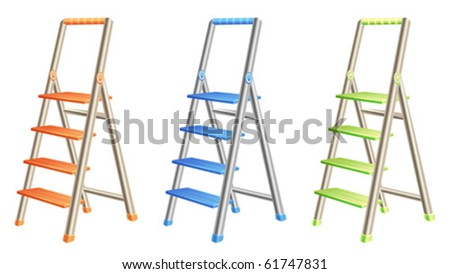 Colorful metal and plastic step ladders - stock vector
