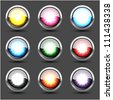 "Colorful metal buttons ""explosion"" set, isolated on black, vector illustration, eps 10 - stock photo"