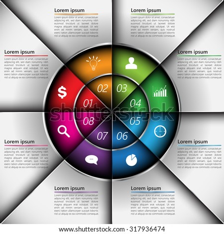 Colorful Metallic Circle Diagram with 8 Options, Number, Business Icon and Text Information. Financial and Business Infographic, Vector Illustration.