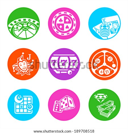 Colorful metro-style icons for online casino - stock vector
