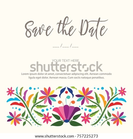 Colorful mexican traditional textile embroidery style stock vector colorful mexican traditional textile embroidery style from tenango hidalgo mxico save the date stopboris Image collections