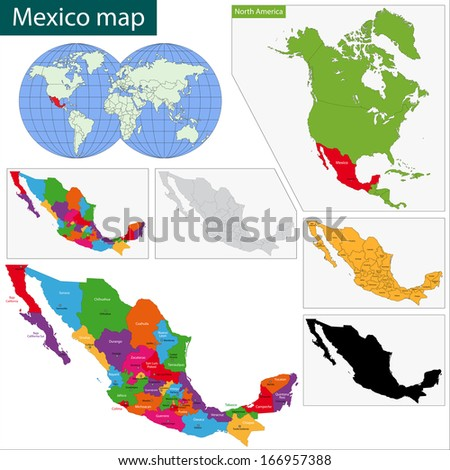 Colorful Mexico map with state borders and capital cities - stock vector