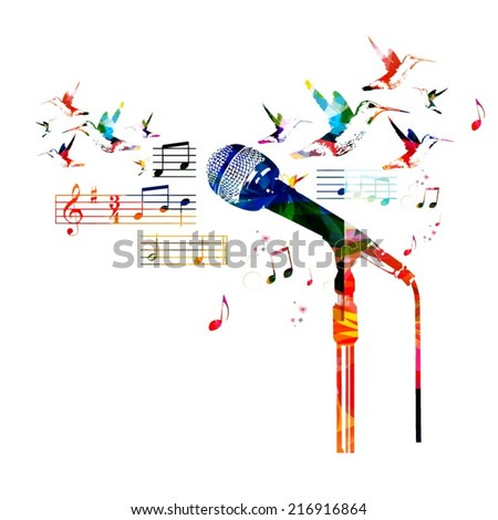 Colorful microphone design - stock vector