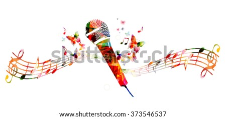 Colorful microphone design with butterflies