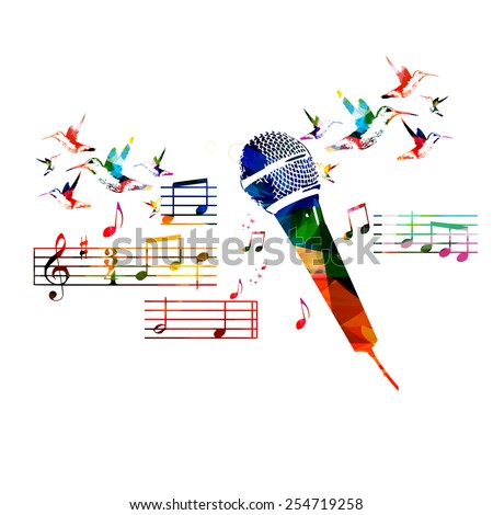 Colorful microphone design with hummingbirds - stock vector
