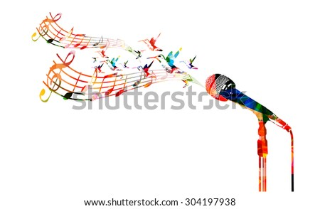 Colorful microphone with hummingbirds - stock vector