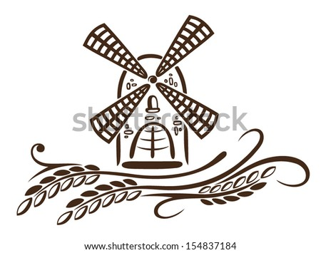 Colorful mill and grain, bakery decoration. - stock vector