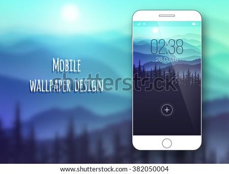 Colorful mobile interface wallpaper on blurred background. Mobile Wallpaper. Clean and modern design. Nature. Vector illustration - stock vector