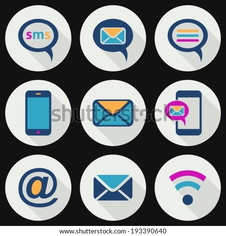 Colorful mobile sms and mail icons flat design