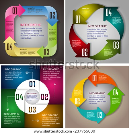colorful modern arrow text box template for website computer graphic and internet, numbers. Set of color frames for text or quotes. brochure. many, various  - stock vector