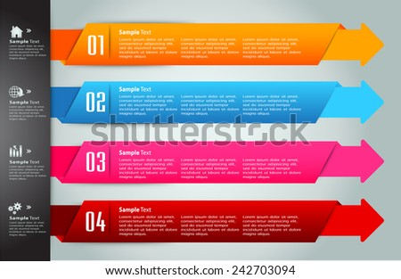 colorful modern arrow text box template for website computer graphic technology and internet, numbers.