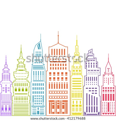 Colorful Modern Big City with Buildings and Skyscraper, Architecture Megapolis, City Financial Center , Linear Style Design, Real Estate , Vector Illustration - stock vector