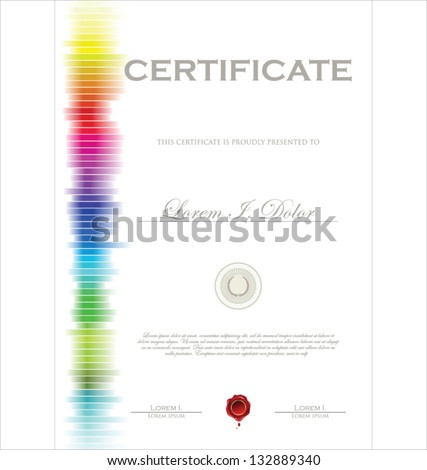 Colorful modern certificate template - stock vector