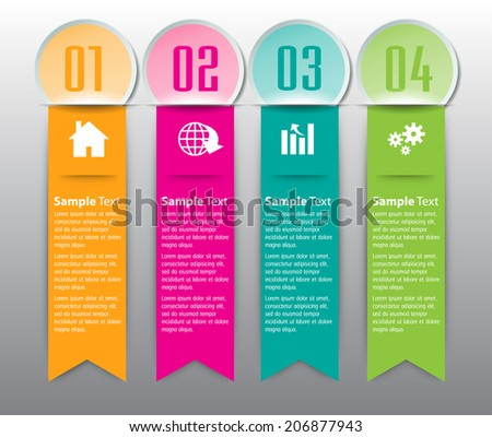 colorful modern label  text box for website and business, numbers, icon.