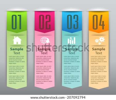 colorful modern label text box for website graphic and business, numbers, icon.  - stock vector