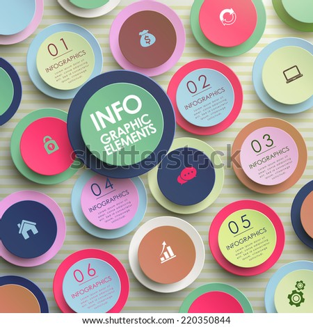 colorful modern paper circle infographic elements template  - stock vector