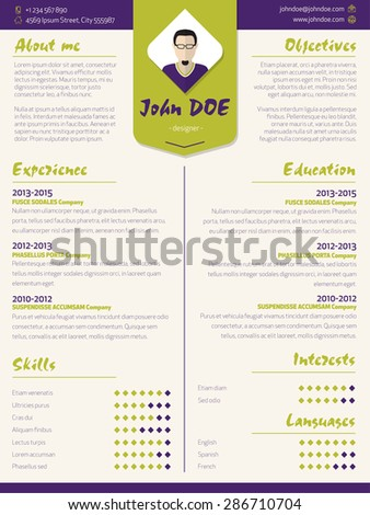 Colorful modern resume curriculum vitae cv template with design elements - stock vector