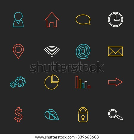 Colorful modern set of flat web icons on blackboard for infographics: people, home, talk, time, geo location, wifi, web, e-mail, settings, pie chart, graphic, arrow, money, ecology, safety and search. - stock vector