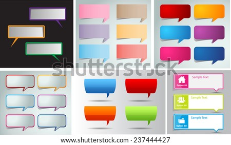 colorful modern speech bubble text box template for website computer graphic and internet, numbers. Set of color frames for text or quotes. brochure. many, various