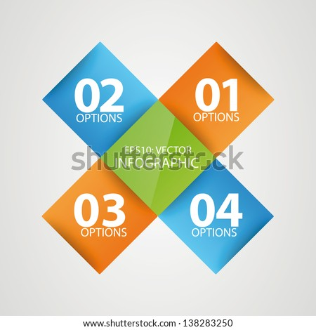 Colorful modern step origami style options banner square. Vector illustration. - stock vector