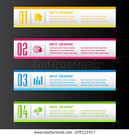 colorful modern text box for website graphic and business, numbers, icon.