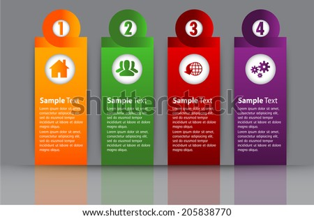 colorful modern text box template for website and graphic, numbers, icon.  - stock vector