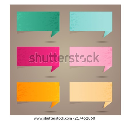 colorful modern text box template for website and graphic, numbers. old paper speech bubble.  - stock vector