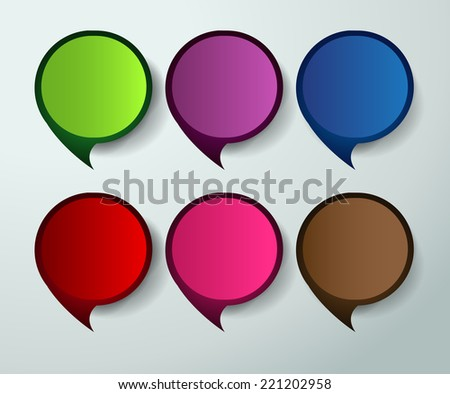 colorful modern text box template for website and graphic, numbers. paper speech bubble.  - stock vector
