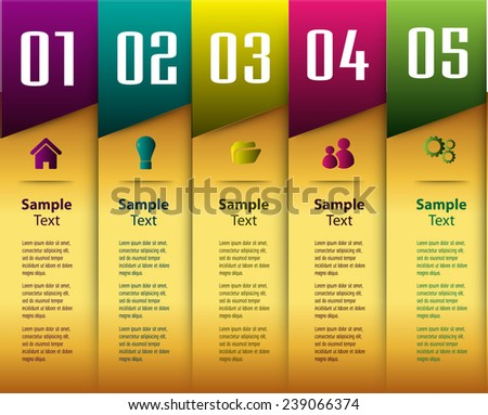 colorful modern text box template for website computer graphic and internet, numbers. gold. - stock vector
