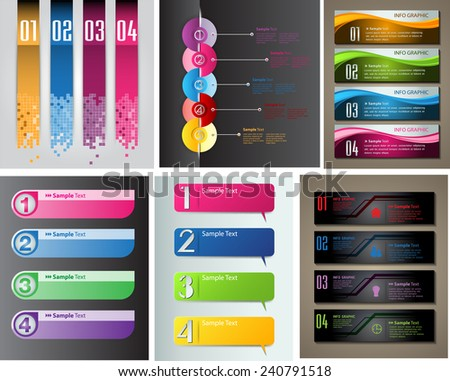 colorful modern text box template for website computer graphic and internet, numbers. Set of color frames for text or quotes. brochure. many, various - stock vector