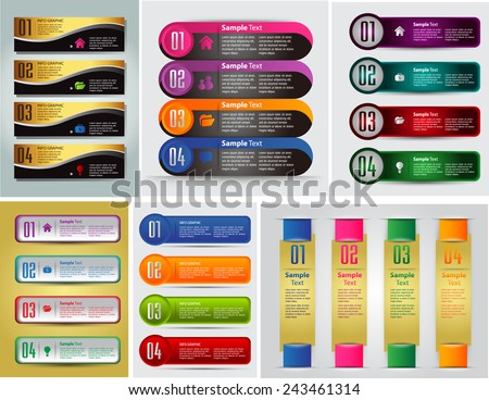 colorful modern text box template for website computer graphic and internet, numbers. Set of color frames for text or quotes. brochure. many, various. gold - stock vector