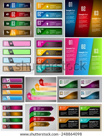 colorful modern text box template for website computer graphic and internet, numbers. Set of color frames for text or quotes. brochure. many, various.  - stock vector
