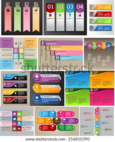 colorful modern text box template for website computer graphic and internet, numbers. Set of color frames for text or quotes. brochure. many, various. speech bubble - stock vector