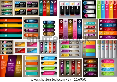 colorful modern text box template for website computer graphic technology and internet business, numbers. Set of color frames for text or quotes. brochure. many, various. infographics. - stock vector