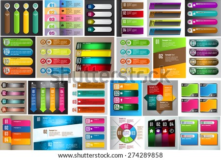 colorful modern text box template for website computer graphic technology and internet, numbers. Set of color frames for text or quotes. brochure. many, various. infographic. business - stock vector