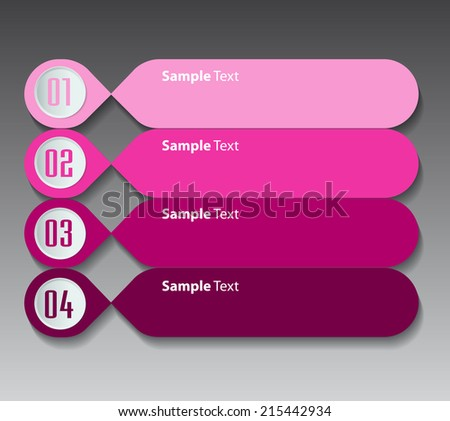 colorful modern text box template for website, labels, numbers. - stock vector