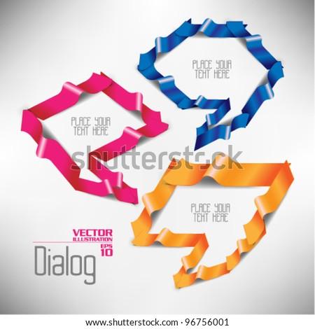colorful modern three dimensional dialog design - stock vector