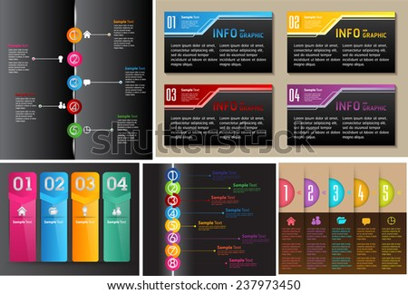 colorful modern time line text box template for website computer graphic and internet, numbers. Set of color frames for text or quotes. brochure. many, various  - stock vector
