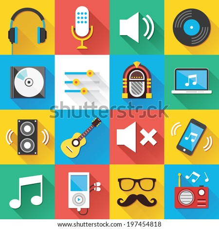 Colorful modern vector flat icons set with long shadow. Quality design illustrations, elements and concepts for web and mobile apps. Music icons, sound production icons, technology icons etc. - stock vector
