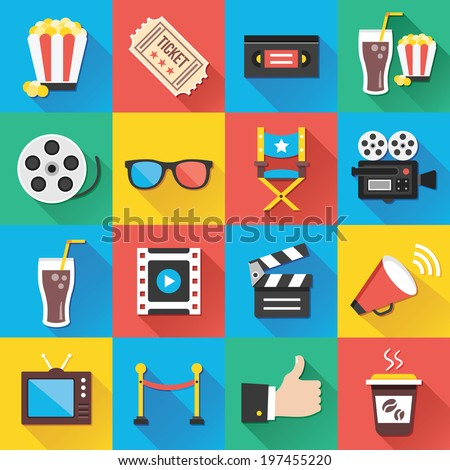 Colorful modern vector flat icons set with long shadow. Quality design illustrations, elements and concepts for web and mobile apps. Cinema icons, entertainment icons, movie production icons etc. - stock vector