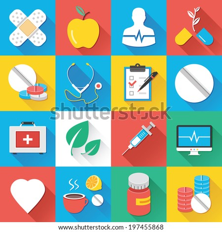 Colorful modern vector flat icons set with long shadow. Quality design illustrations, elements and concepts for web and mobile apps.Medical icons, healthcare icons, medical research icons, drugs etc.  - stock vector