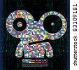 Colorful monster on black grunge background - stock vector